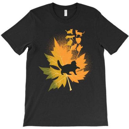 Cat Leaf Design T-shirt Designed By Rardesign