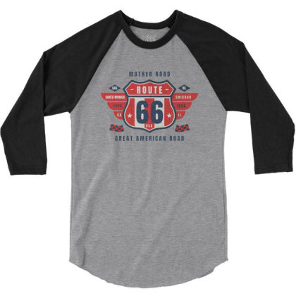 Route 66 Car 3/4 Sleeve Shirt Designed By Zig Street