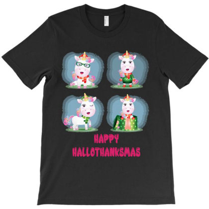 Unicorn Christmas T-shirt Designed By Rardesign