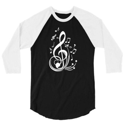 Music Notes 3/4 Sleeve Shirt Designed By Lyly