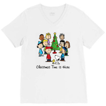 Christmas Time Is Here The Peanuts Movies Christmas V-neck Tee Designed By Colorfull Art