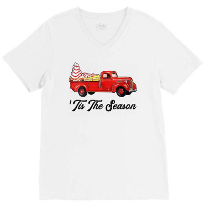 Christmas Tree Snack Cake Red Truck V-neck Tee Designed By Colorfull Art
