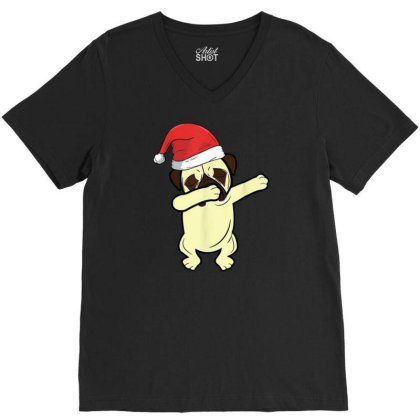 Funny Christmas Dabbing Pug V-neck Tee Designed By Bernstinekelly
