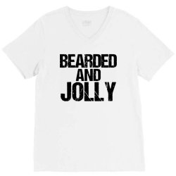 funny christmas  bearded and jolly V-Neck Tee | Artistshot