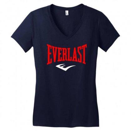 Everlast Boxing Logo Women's V-neck T-shirt Designed By Henz Art
