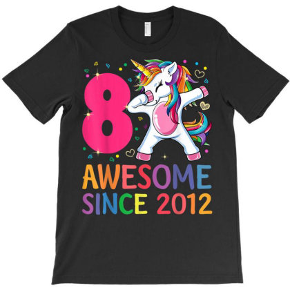 8 Years Old 8th Birthday Unicorn Dabbing T-shirt Designed By Welcome12
