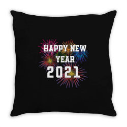 Happy New Year 2021 With Fireworks Throw Pillow Designed By Sukhendu12