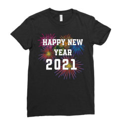 Happy New Year 2021 With Fireworks Ladies Fitted T-shirt Designed By Sukhendu12
