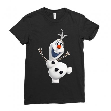 Olaf Snowman Frozen Ladies Fitted T-shirt Designed By Jafarnr1966