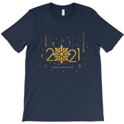 Golden Metallic Numbers 2021 With Shining T-shirt Designed By Şen
