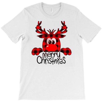 Buffalo Plaid Reindeer Merry Christmas T-shirt Designed By Blackfire