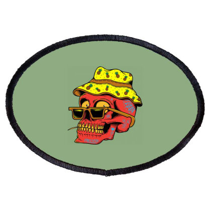 Skull With Hat Oval Patch Designed By Alqamar