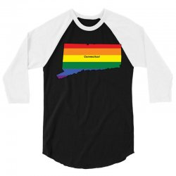 connecticut rainbow map 3/4 Sleeve Shirt | Artistshot