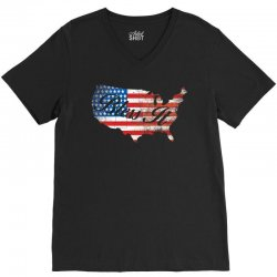 bless it usa map 4th of jully flag V-Neck Tee | Artistshot
