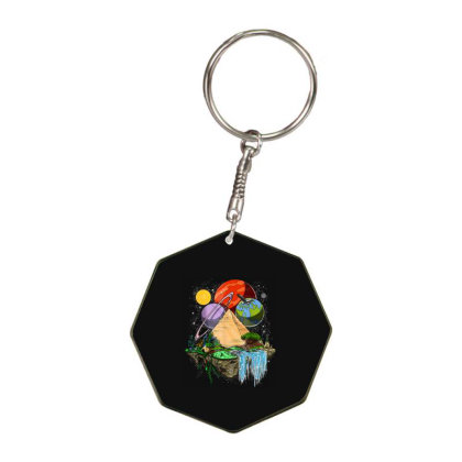 Space Egyptian Pyramid Alien Octagon Keychain Designed By Qudkin