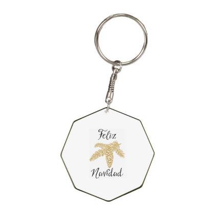 Merry Christmas, Happy New Year, Feliz Navidad Octagon Keychain Designed By Estore