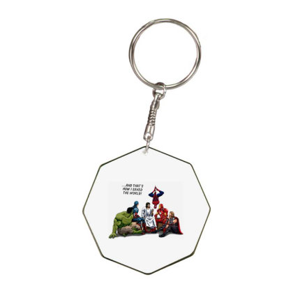 And That's How I Saved The World Jesus Octagon Keychain Designed By Woko Art