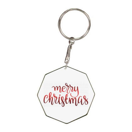 Merry Christmas, Happy New Year Octagon Keychain Designed By Estore