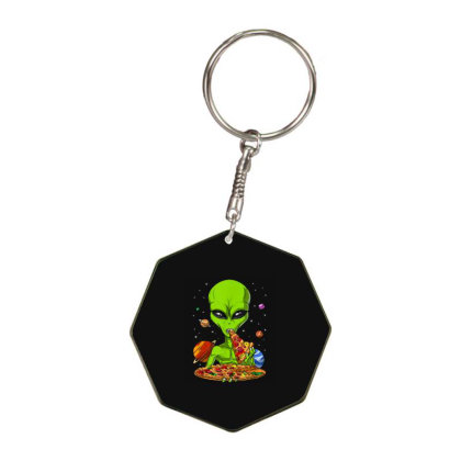 Alien Eating Pizza Funny Octagon Keychain Designed By Qudkin