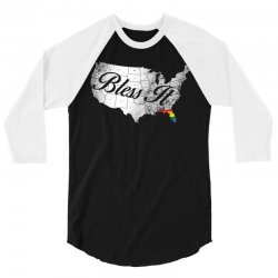 bless it usa map 4th of jully orlando strong pride 3/4 Sleeve Shirt | Artistshot