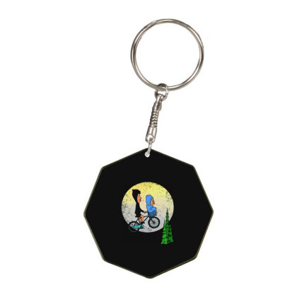 Ride To Moon Octagon Keychain Designed By Woko Art