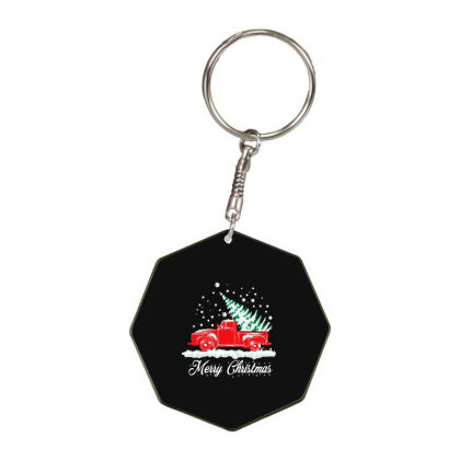 Old Truck Christmas Tree Octagon Keychain Designed By Woko Art