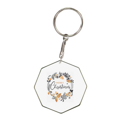 Merry Christmas, Happy New Year, Have A Holly Jolly Octagon Keychain Designed By Estore