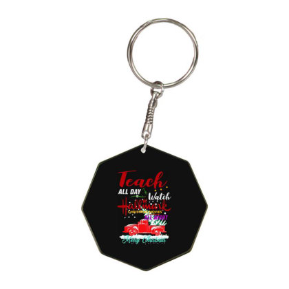 Old Truck Christmas Tree   Merry Christmas Octagon Keychain Designed By Woko Art