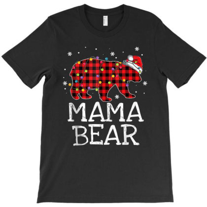 Mama Bear Red Plaid Christmas Pajama Family Mom T-shirt Designed By Mrt90