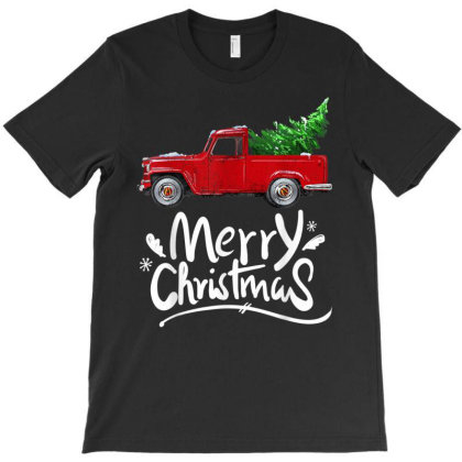 Vintage Wagon Red Truck Christmas Tree Pajama Gift T-shirt Designed By Mrt90