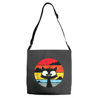 Cute Retro Vintage Cat Adjustable Strap Totes Designed By Tht