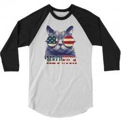 4th of july tshirt cat meowica 3/4 Sleeve Shirt | Artistshot