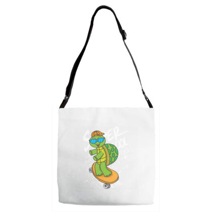 Turtle With Skateboard Adjustable Strap Totes Designed By Dulart
