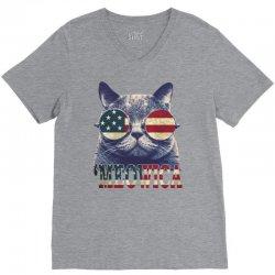 4th of july tshirt cat meowica V-Neck Tee | Artistshot