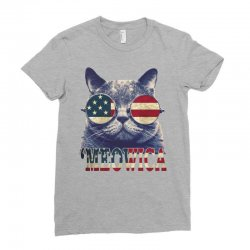 4th of july tshirt cat meowica Ladies Fitted T-Shirt | Artistshot