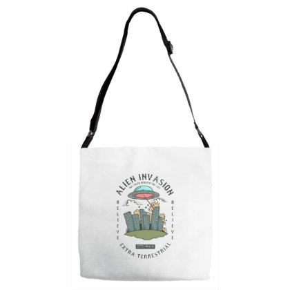 Ufo Alien Invading Earth And City Adjustable Strap Totes Designed By Dulart