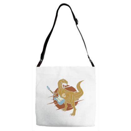 Tyrannosaurus Playing On Electric Guitar 3 Adjustable Strap Totes Designed By Dulart