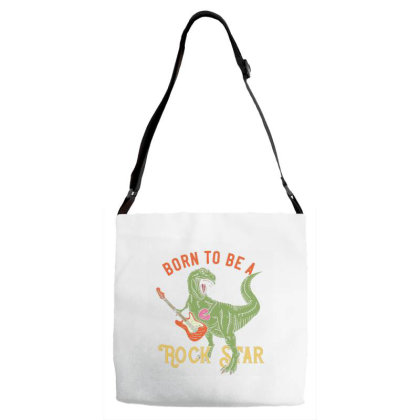 Tyrannosaurus Playing On Electric Guitar 1 Adjustable Strap Totes Designed By Dulart