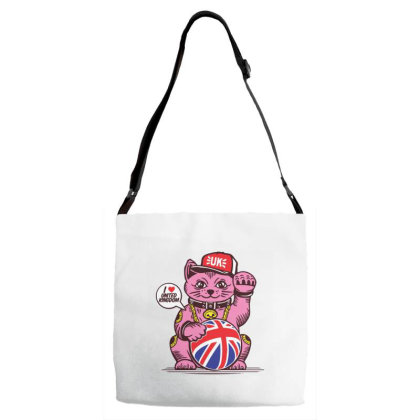 Ucky Fortune Cat Union Jack United Kingdom Adjustable Strap Totes Designed By Dulart