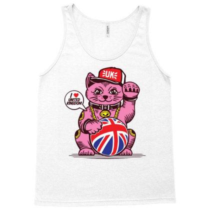Ucky Fortune Cat Union Jack United Kingdom Tank Top Designed By Dulart