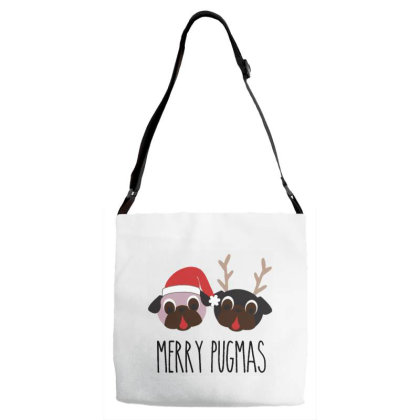 Women Dog Pug Funny Deer Winter Cute Merry Christmas Adjustable Strap Totes Designed By Samlombardie