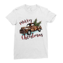 Leopard Printed Car Merry Christmas Ladies Fitted T-shirt Designed By Lorenzoichester
