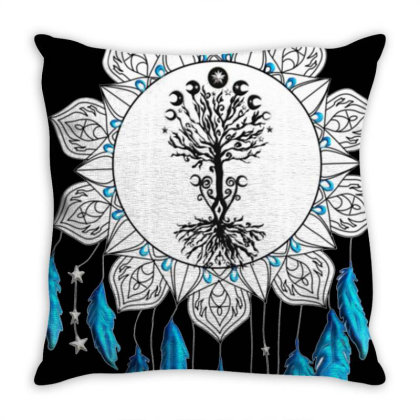 Tree Of Life Mantra Throw Pillow Designed By Yahyafasya