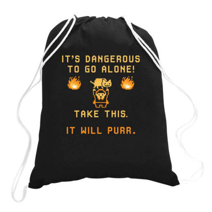 It's Dangerous To Go Alone Drawstring Bags Designed By Ruarthur