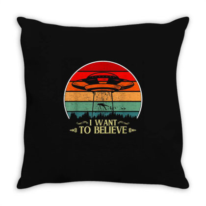 I Want To Believe Ufo Aliens Retro Sunset Throw Pillow Designed By Qudkin