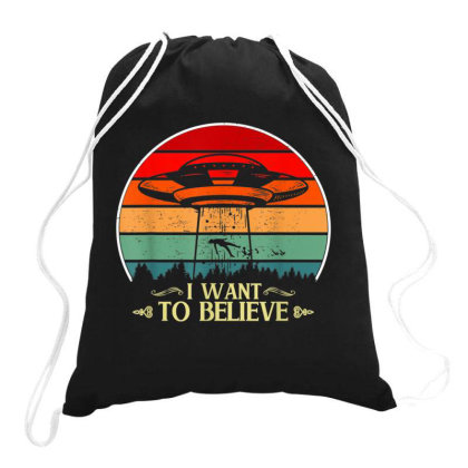 I Want To Believe Ufo Aliens Retro Sunset Drawstring Bags Designed By Qudkin