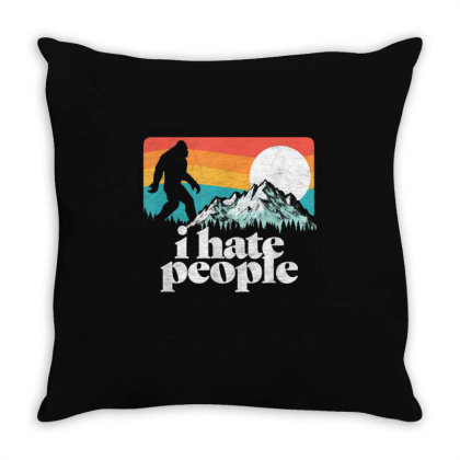 I Hate People Retro Bigfoot Mountains Vintage Throw Pillow Designed By Qudkin