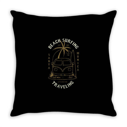 Vacation Car With Surfboad Throw Pillow Designed By Dulart