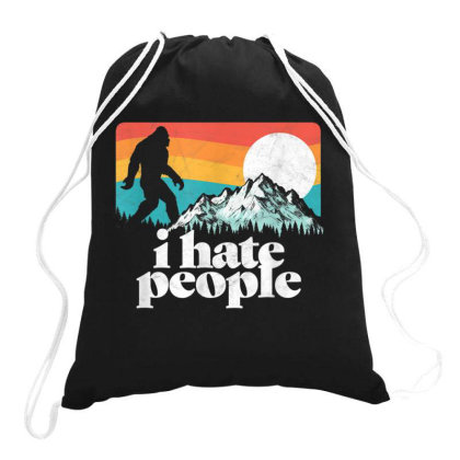 I Hate People Retro Bigfoot Mountains Vintage Drawstring Bags Designed By Qudkin