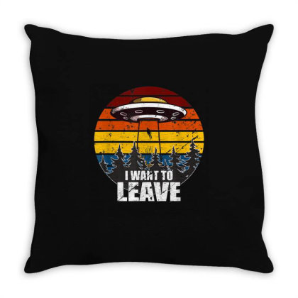 I Want To Leave Vintage Sunset Alien Ufo Throw Pillow Designed By Qudkin